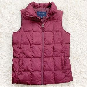 LAND'S END Cranberry Red Herringbone Down Vest NEW